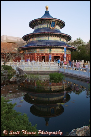 China's Temple of Heaven and reflection in Epcot's World Showcase, Walt Disney World, Orlando, Florida