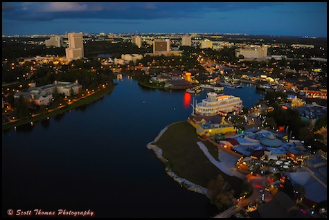 Disney Downtown Marketplace and Lake Buena Vista hotels from the Characters in Flight balloon, Walt Disney World, Orlando, Florida