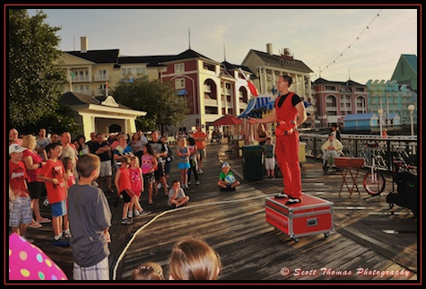 Cool Hand Luke Juggling Show entertaining guests on The Boardwalk, Walt Disney World, Orlando, Florida.