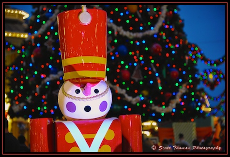 Toy Soldier figure in front of the Main Street USA Christmas tree at the Magic Kingdom, Walt Disney World, Orlando, Florida.