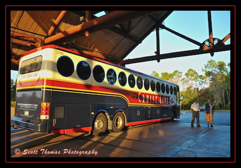 Disney Cruise Line bus at the Wilderness Lodge waiting for guests to board for Port Canaveral, Walt Disney World, Orlando, Florida
