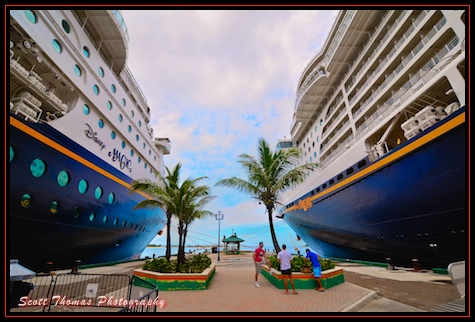 Disney Cruise Ships, the Magic and Dream, berthed at Nassau, Bahamas