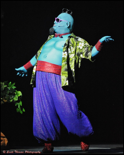 The scene stealing Genie during the musical Believe in the Walt Disney Theatre.