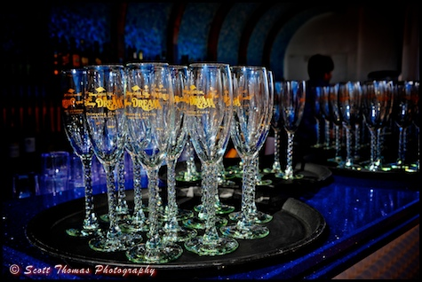 One of a kind Disney Dream Christening Cruise champagne glasses, Disney Cruise Line.