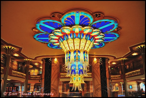 Disney Dream's art deco chandelier, Disney Cruise Line.