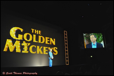 Disney CEO Robert Iger makes a video appearance at the start of the Golden Mickeys show in the Walt Disney Theatre.