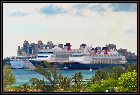 View from Fort Charlotte of the Disney Dream and Disney Magic in the Port of Nassau, Bahamas.