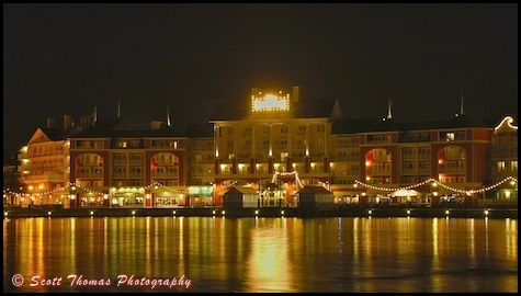 Disney's Boardwalk Resort at night, Walt Disney World, Orlando, Florida.