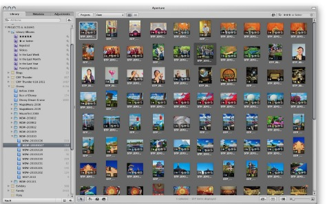 Working with photos in Apple Aperture 3 software.