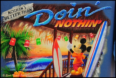 Doin Nothing t-shirt found at Castaway Cay, Disney Cruise Line.