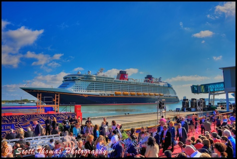 The Disney Dream cruise ship awaiting her christening ceremony at Port