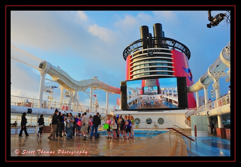 Sam Champion of Good Morning America, crew and guests before going on the air from the Disney Dream.
