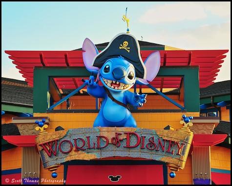 World of Disney shop entrance guarded by Stitch in Downtown Disney, Walt Disney World, Orlando, Florida.