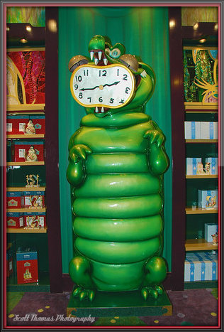 Time ticks and tocks away inside the World of Disney shop in Downtown Disney, Walt Disney World, Orlando, Florida.