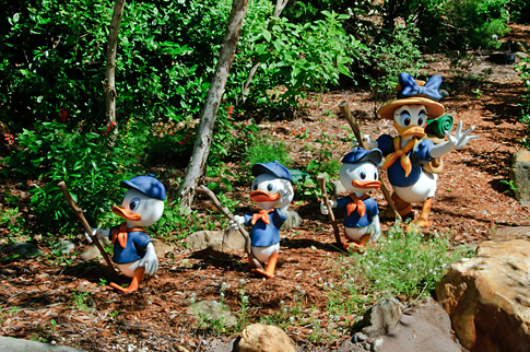Daisy Duck hiking with Hewey, Louie and Dewey
