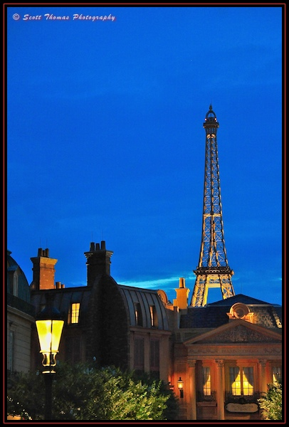 Eiffel Tower in Epcot's France pavilion at dusk, Walt Disney World, Orlando, Florida