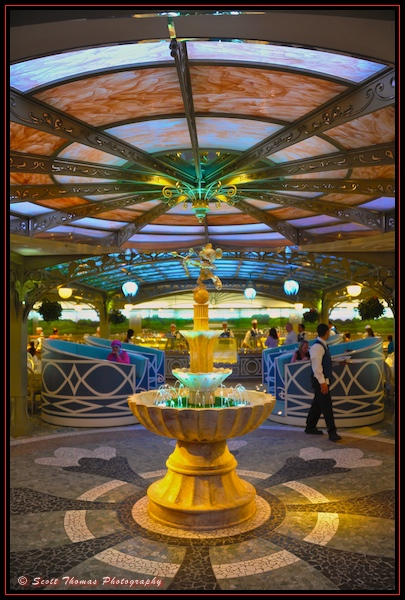 Water fountain in the Enchanted Garden restaurant on the Disney Dream cruise ship.