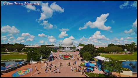 Future World from the monorail over Epcot, Walt Disney World, Orlando, Florida.
