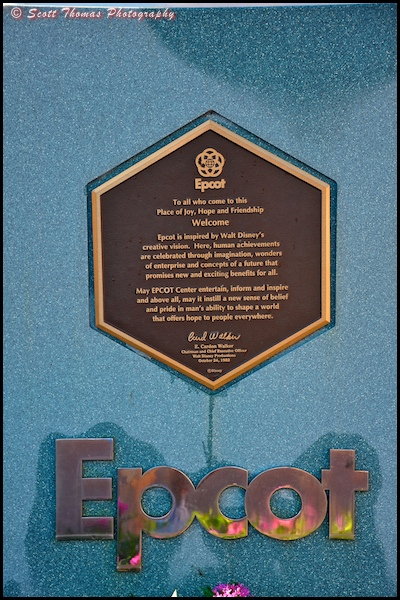Close up of Epcot's dedication plaque outside the front entrance, Walt Disney World, Orlando, Florida.
