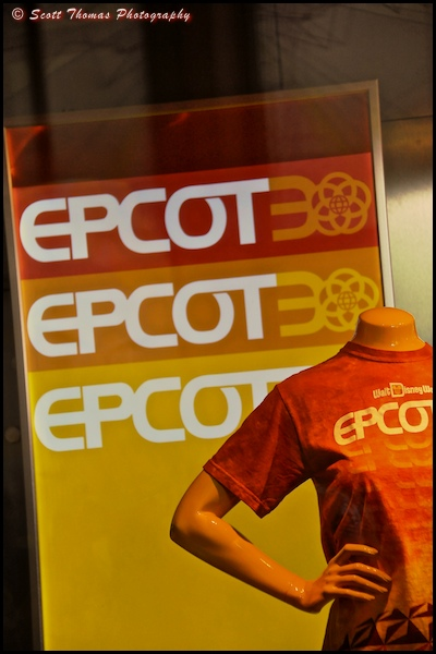 Epcot30 merchandise on display at Mouse Gear in Epcot, Walt Disney World, Orlando, Florida.