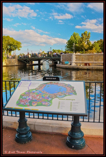 Braille map of Epcot at the International Gateway entrance to World Showcase, Walt Disney World, Orlando, Florida