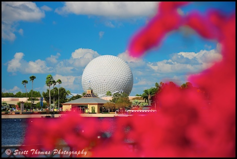 Spaceship Earth from World Showcase in Epcot, Walt Disney World, Orlando, Florida.