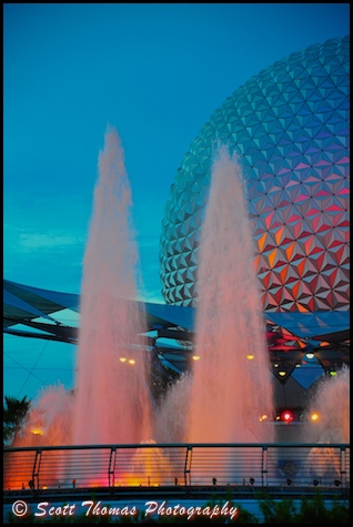 Innovention Fountain with Spaceship Earth in Epcot's Future World, Walt Disney World, Orlando, Florida
