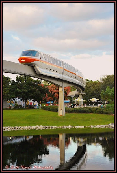 Monorail Orange in Epcot's Future World, Walt Disney World, Orlando, Florida