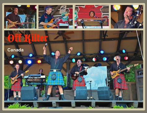 Off Kilter on stage in the Canada pavilion in Epcot's World Showcase, Walt Disney World, Orlando, Florida