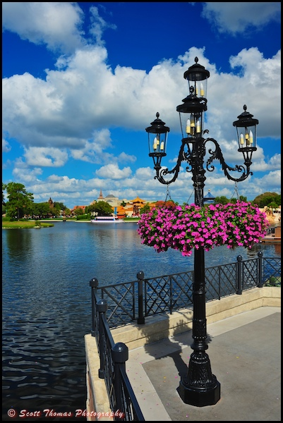 Hanging flowers on a lamp post in Epcot's Italy pavilion, Walt Disney World, Orlando, Florida.