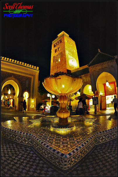 Morocco pavilion at night in Epcot's World Showcase, Walt Disney World, Orlando, Florida