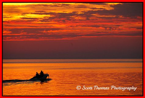 Evening cruise at sunset on Lake Ontario, Oswego, New York