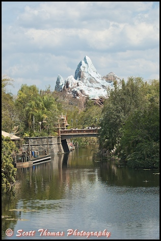 Expedition Everest telephoto landscape in Disney's Animal Kingdom, Walt Disney World, Orlando, Florida.