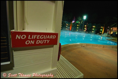 No Lifeguard on Duty as steam rises from the Main Pool at the All Star Sports resort, Walt Disney World, Orlando, Florida