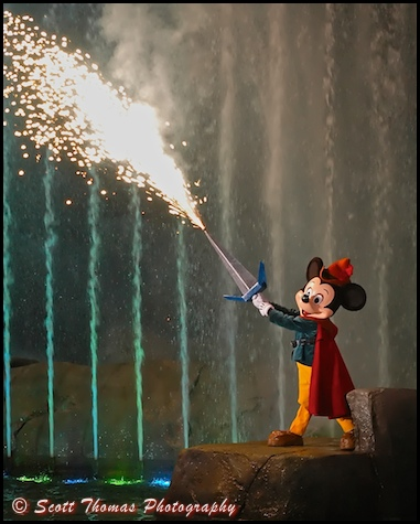 Mickey Mouse welding his Fire Sword during Fantasmic! in Disney's Hollywood Studios, Walt Disney World, Orlando, Florida