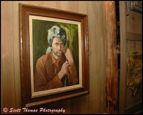 A portrait of Fess Parker as Davy Crockett hangs near Crockett's Tavern found in the Trail's End restaurant located in the Fort Wilderness Campground and Resort, Walt Disney World, Orlando, Florida
