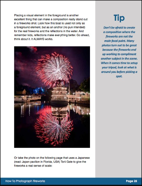 A page from the Composition Chapter of the Fireworks Photography ebook.