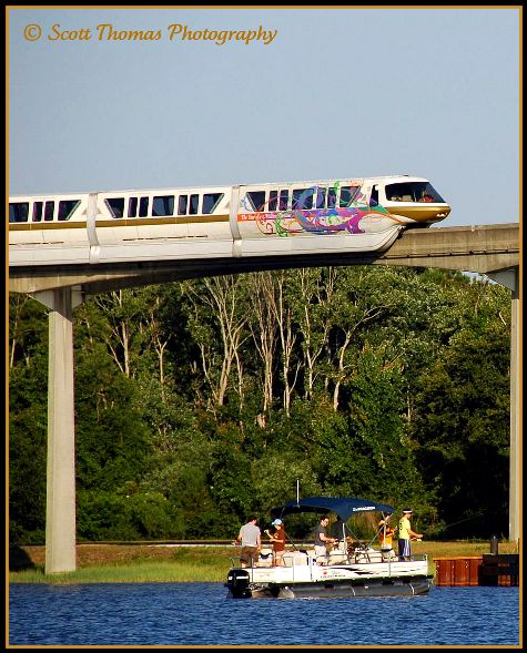 Resort monorail heading to the Magic Kingdom, Walt Disney World, Orlando, Florida