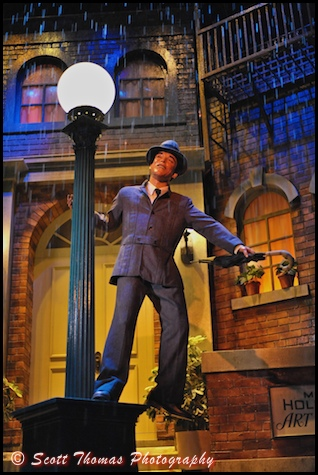 An audio-animatronic Gene Kelly is Singing in the Rain during the Great Movie Ride in Disney's Hollywood Studios, Walt Disney World, Orlando, Florida.