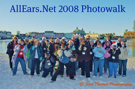 The AllEars.Net Photowalk Group photo with the Boardwalk Resort in the background, Walt Disney World, Orlando, Florida