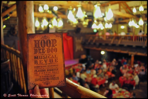 The Hoop-Dee-Doo Musical Revue dinner show playbill from the Pioneer Hall balcony in Disney's Fort Wilderness Resort and Campground, Walt Disney World, Orlando, Florida.
