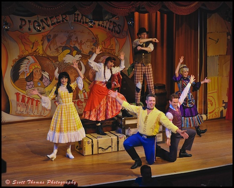 The Pioneer Hall Players on stage performing the Hoop-Dee-Doo Musical Revue dinner show in Disney's Fort Wilderness Resort and Campground, Walt Disney World, Orlando, Florida.