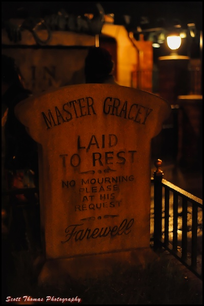 Master Gracey's tomb at the Haunted Mansion in the Magic Kingdom, Walt Disney World, Orlando, Florida.