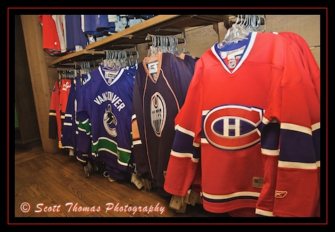 National Hockey League team jerseys of all the Canadian teams in Trading Post and Northwest Mercantile store of the Canada pavilion in Epcot's World Showcase, Walt Disney World, Orlando, Florida