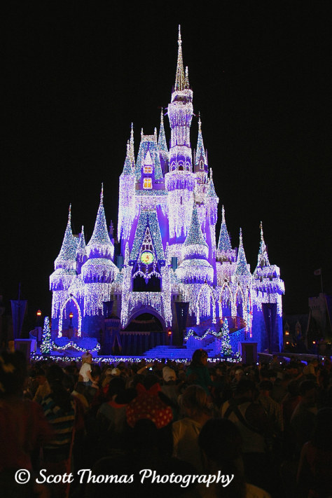 Cinderella Castle all decked out in her holiday finest in the Magic Kingdom, Walt Disney World, Orlando, Florida.
