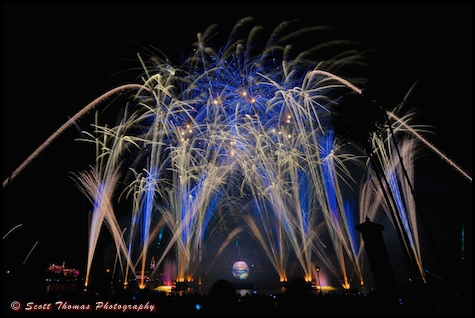 Illuminations fireworks show in Epcot, Walt Disney World, Orlando, Florida.