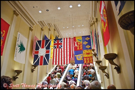 There are 44 flags in the Hall of Flags you pass under to see the American Adventure in Epcot's World Showcase, Walt Disney World, Orlando, Florida