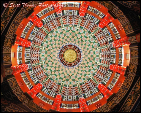 The magnificent ceiling inside the replica of the Temple of Heaven found at Epcot's World Showcase China pavilion, Walt Disney World, Orlando, Florida