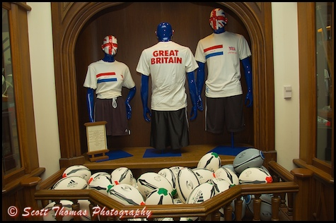 Rugby balls and sweaters in The Toy Soldier shop in the United Kingdom pavilion in Epcot's World Showcase, Walt Disney World, Orlando, Florida