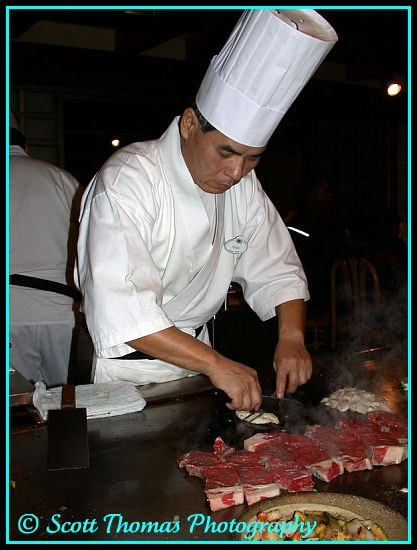Chef in Teppan Edo restaurant in Epcot's Japan pavilion, Walt Disney World, Orlando, Florida